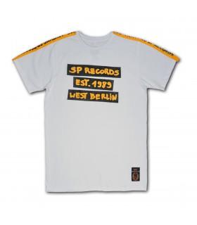 Koszulka SP RECORDS - Est. 1989 pomarańcz / czerń. Biała z lampasami